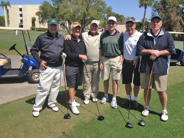 Senior Open held in Bradenton FL on March 25, 2013  From Left to right: Randy Betz '73, Toby Froehlich  '72, Ken Slaby '73, Mike Dalesio '73, Tom Raymond '73 and Bob Losinger '72