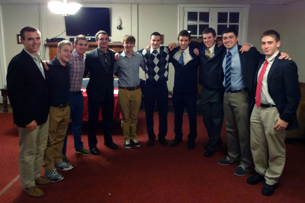Fall 2013 Pledge Class L to R: Frank Donato, Alex Blankman, Stephen Skoler, Alex Patton, Stephen Sandford. Mark Joyce, Caulen Hershman, Ryan Gattoni, Zach Meharey (Marshal), and Alex Constable (Ed Brand not pictured)