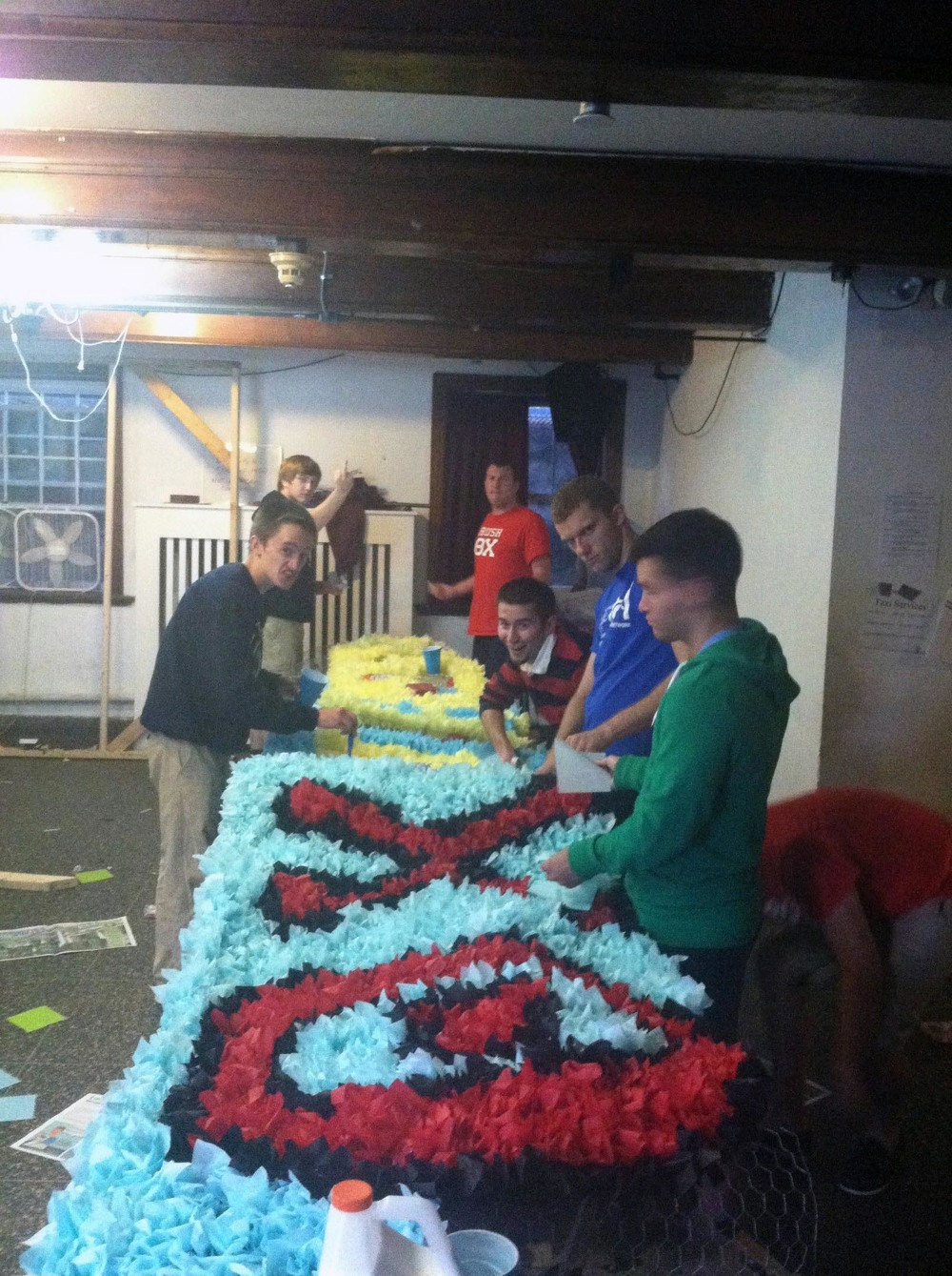 Homecoming 2013 preparations begin with float building - L to R: Sean McCrea, Nick Stadtlander, Jerry Douglas Crompton, Sam Kulp, Brandon Nicklas and Greg Black - Oct. 8, 2013