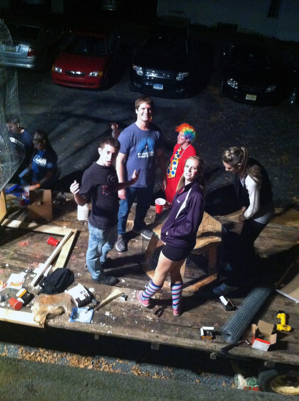 Homecoming 2013 preparations begin with float building - Sam Kulp, Ian Maxwell and Jerry Crompton - Oct. 8, 2013