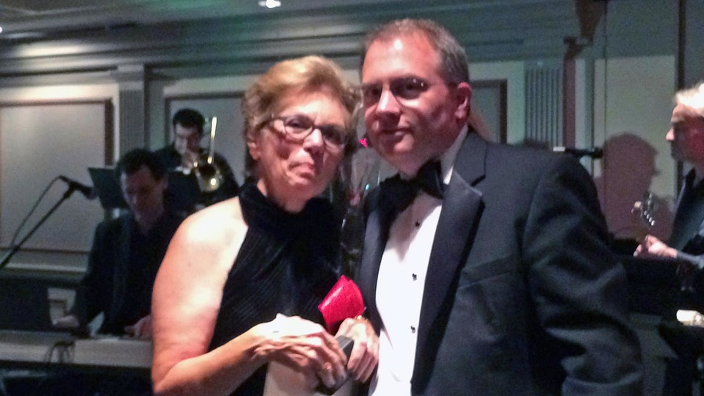 Jean Bartnik receives the Theta Chi Carnation Award from Chris Bartnik - Theta Chi Gala - Oct. 21, 2013