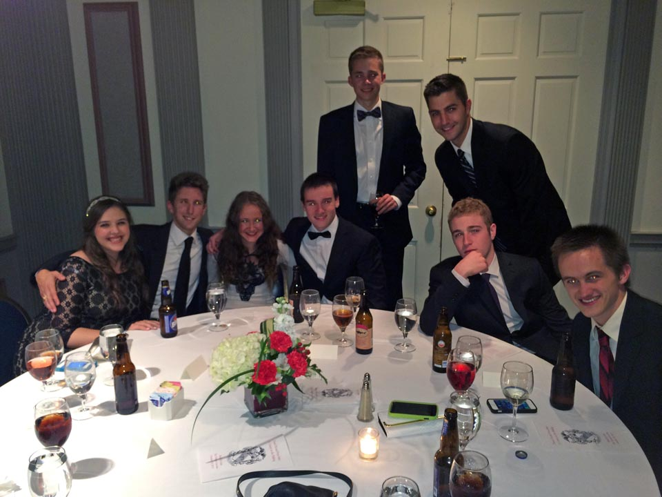 Becca Shapiro, Zach Dugan, TK, TK, TK, Rob McHugh, TK and Sean McCrea  - Theta Chi Gala - Oct. 21, 2013
