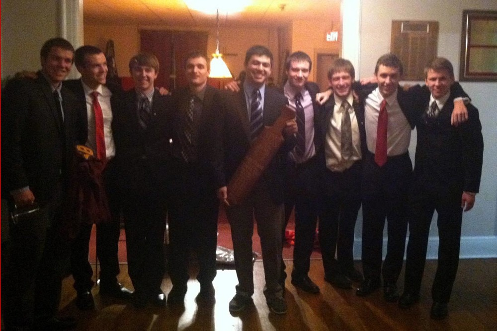 L to R: Ryan Gattoni, Frank Donato, Steve Sandford, Alex Patton, Zach Meharey, Mark Joyce, Alex Constable, Caulen Hershman and Edward Brand - Initiation Night - Fall 2013 - Nov. 15, 2013