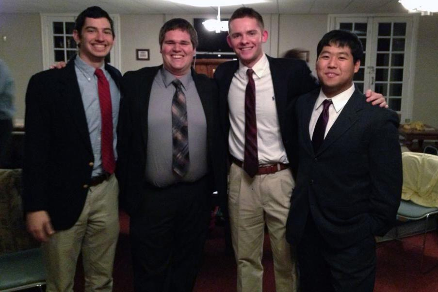 L to R: Alejandro Buxó, Tyler Wood, Sean Siburn and Danny Lim - Initiation Night - Fall 2013 - Nov. 15, 2013