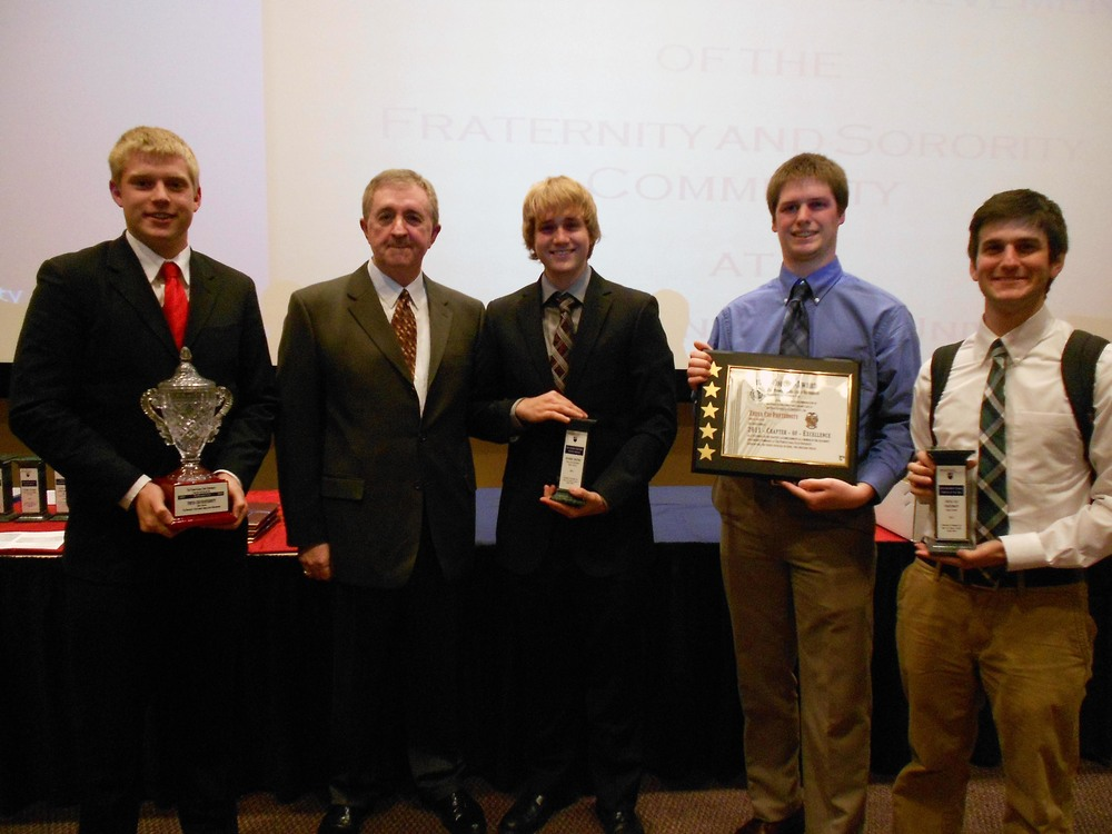 L to R: Kevin Trippel, Dr. Roy Baker (Director of Office of Fraternity and Sorority Life), Aaron Speagle, Ian Maxwell, and Nick Lello