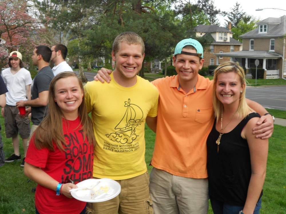 Greg Smith (L) and John Boston (R) with greek week partners Omega Phi AlphaGreek Week Cookout