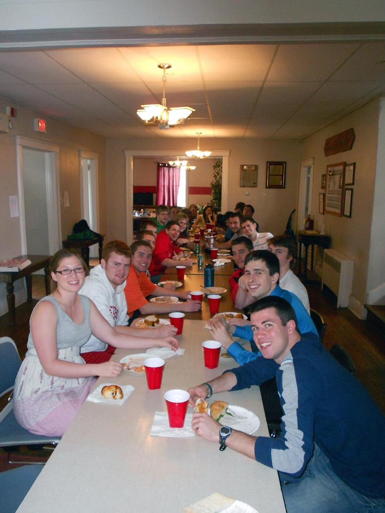 Brothers, and Friends enjoying an Easter/Passover Potluck dinner