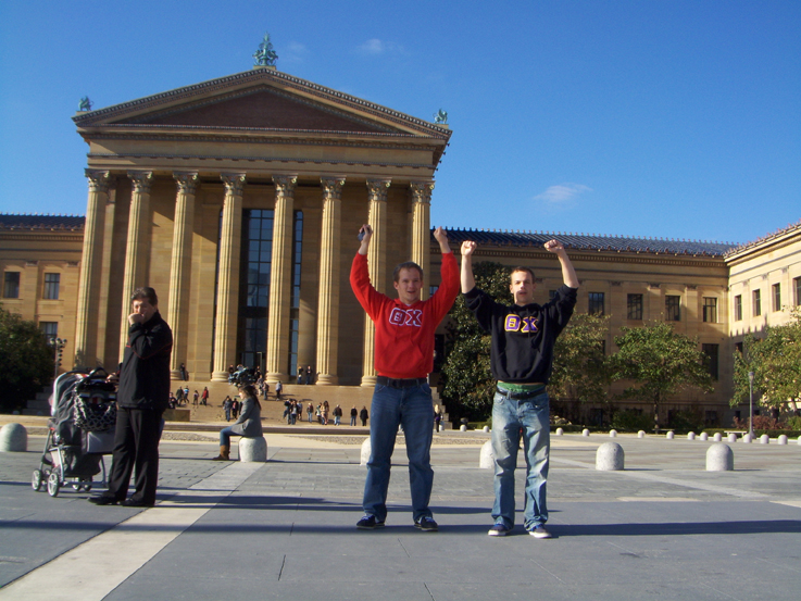 Gerad Freeman and Grant Gaston atop the stairs of the Philadelphia Art Museum