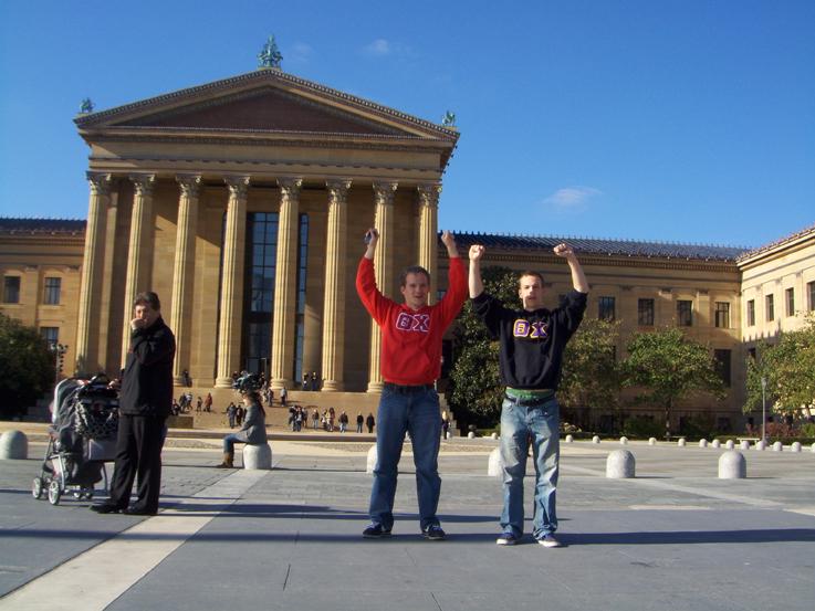 Gerad Freeman and Grant Gaston atop the stairs of the Philadelphia Art MuseumFall 2011