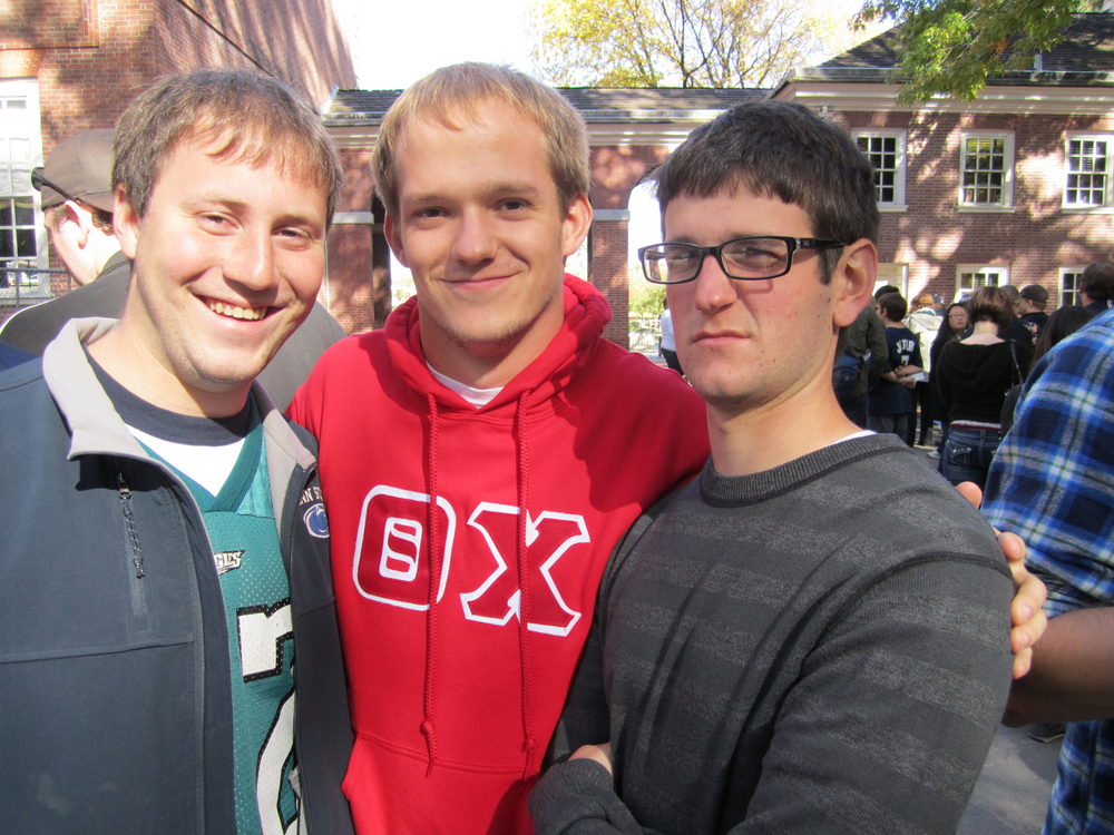 L to R: Jeremy Railing, Gerad Freeman, and Nick Lello in front of Independence Hall