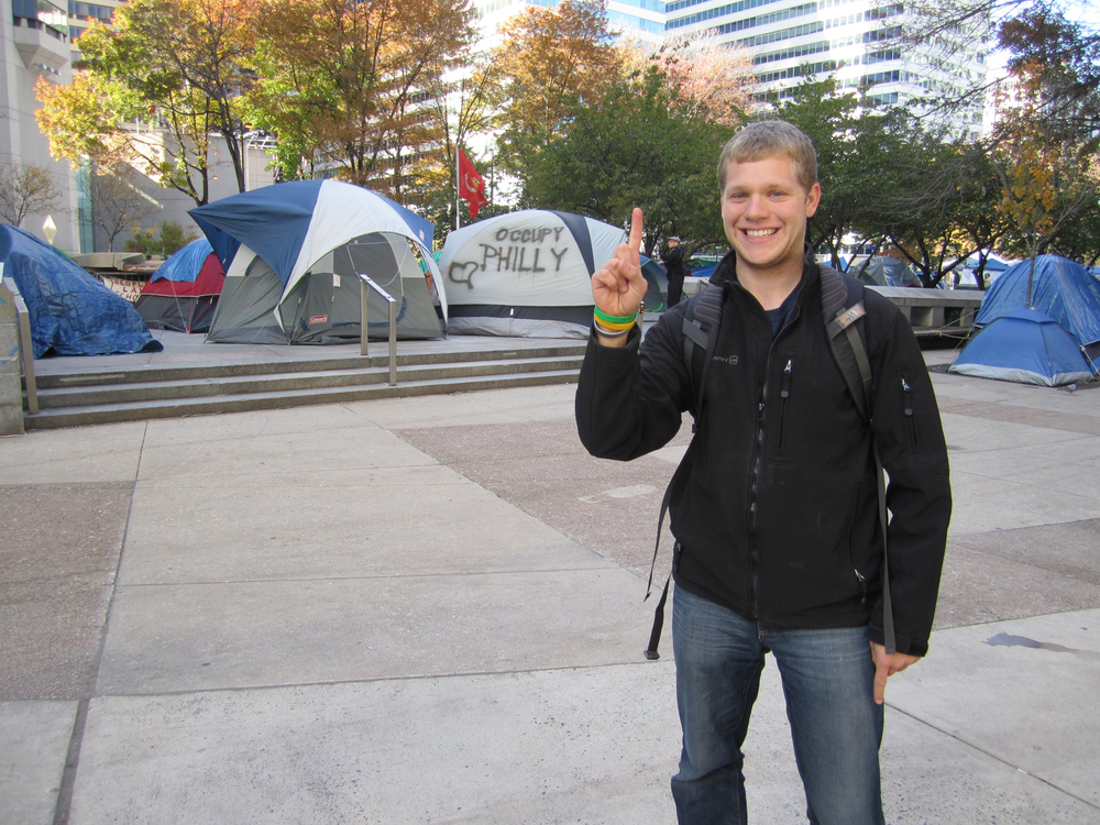 Greg Smith in front of Occupy PhillyFall 2011
