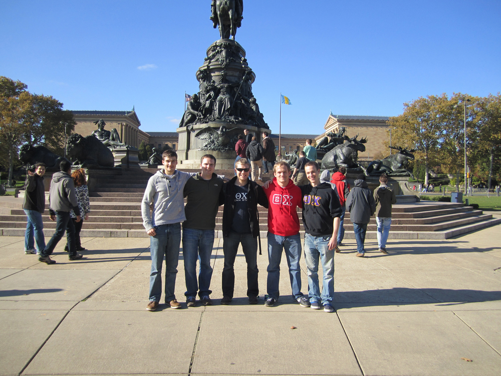 L to R: Sebastian Reigber, Jason Clark, Greg Smith, Geard Freeman, and Grant Gaston in front of the Philadelphia Art Museum