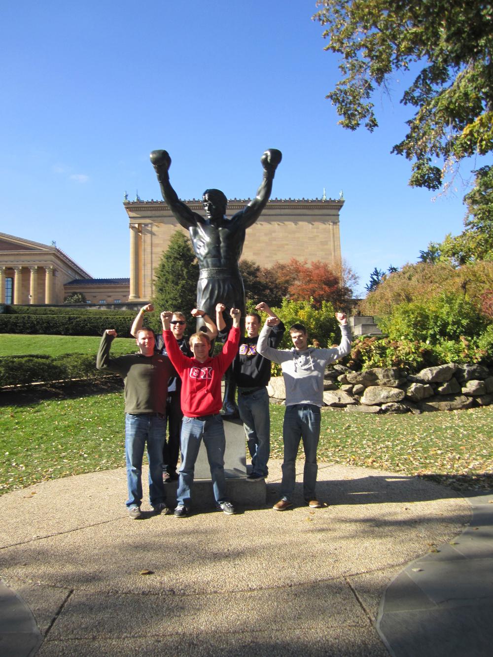 L to R: Jason Clark, Greg Smith, Gerad Freeman, Grant Gaston, and Sebastian Reigber posing with RockyFall 2011
