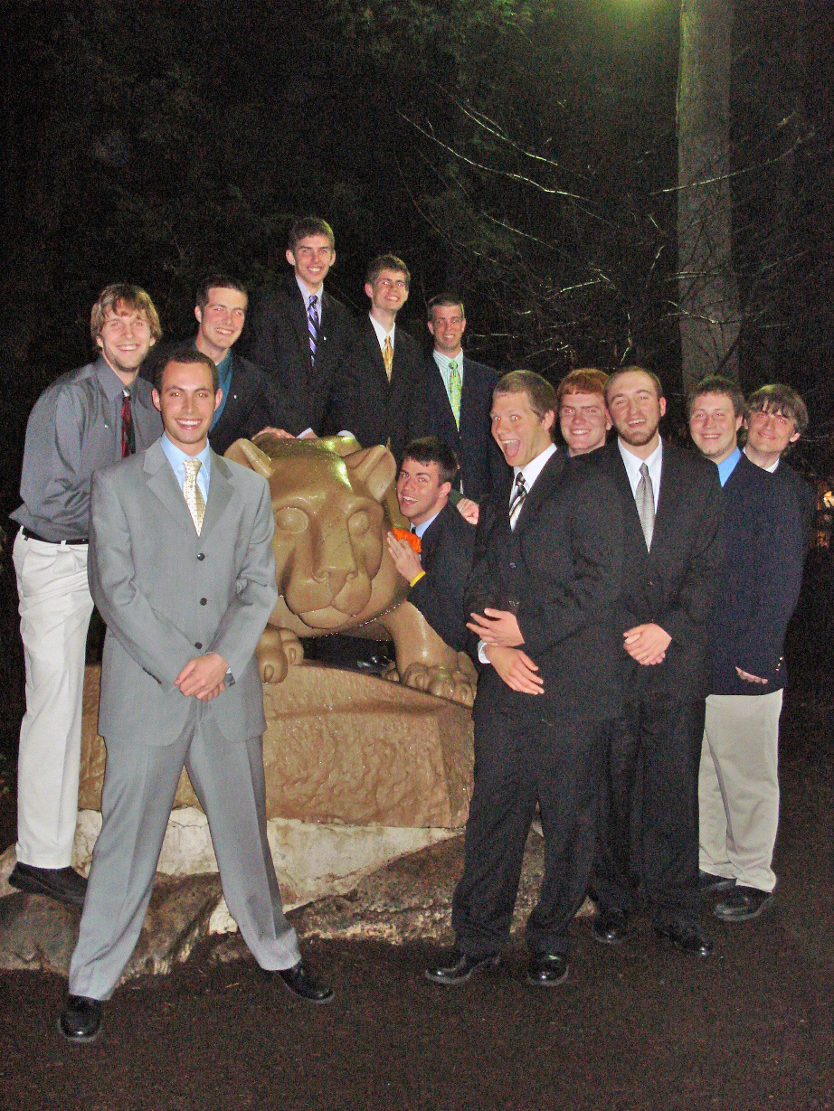 Spring 2009 Initiation - L to R: Joshua Greever, Jason Chottiner, Nathaniel Wysocki, Kent Bare, Mitch Hulderman, Jason Downey, Jim Barrett, Greg Smith, Troy Slack, Ed Benish, Jeremy Railing, Nate Emmons
