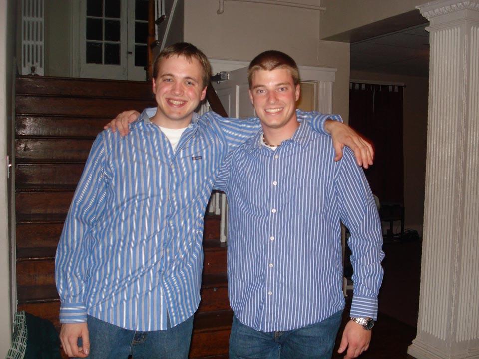 Joseph Aranowski (L) and Jared Metzgerduring the 2008 Homecoming Prep with Omega Phi Alpha