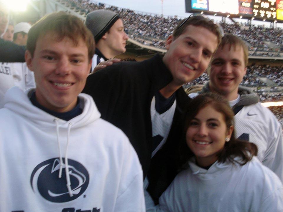 L to R: Kent Rentschler, Jared Case, Bianca Garramone and Joseph Aranowskiat the Michigan Game, Oct. 18, 2008