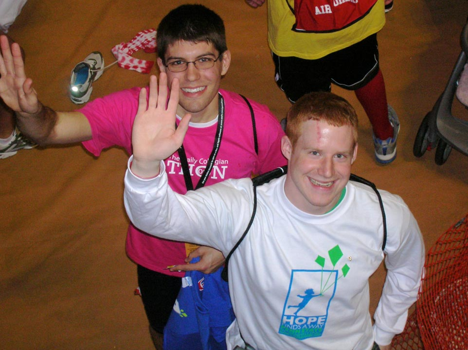 Andrew Bott (L) and Zach Binder (OX dancer)