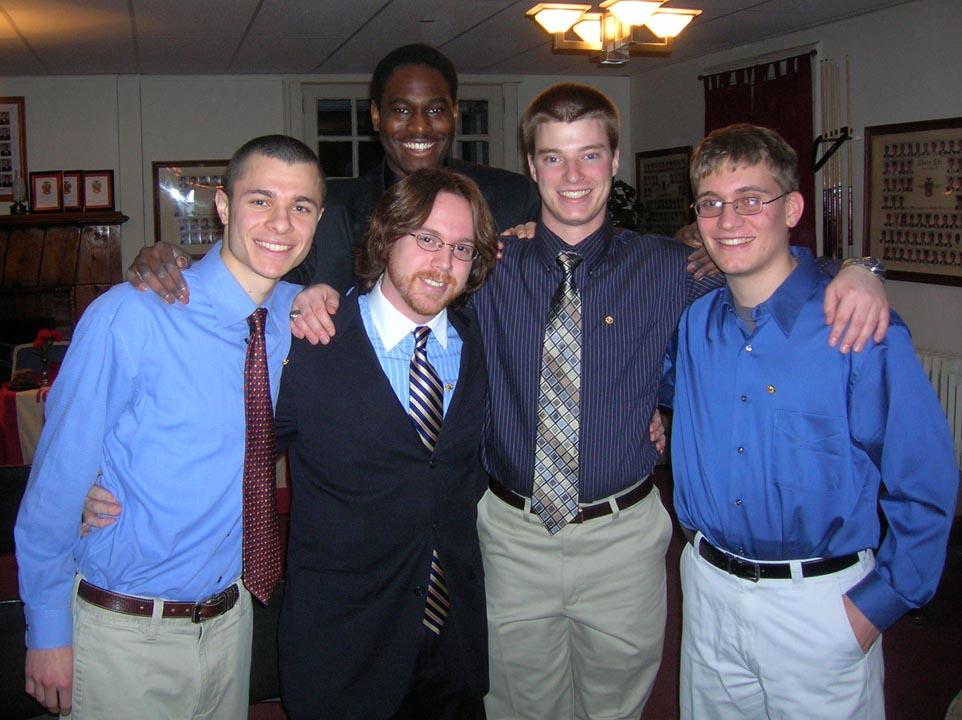 (L to R) Dan Tseytlin, LeShawn Haynes, Matthew Cook, Jared Metzger, Joseph Sosikat New Member ceremony