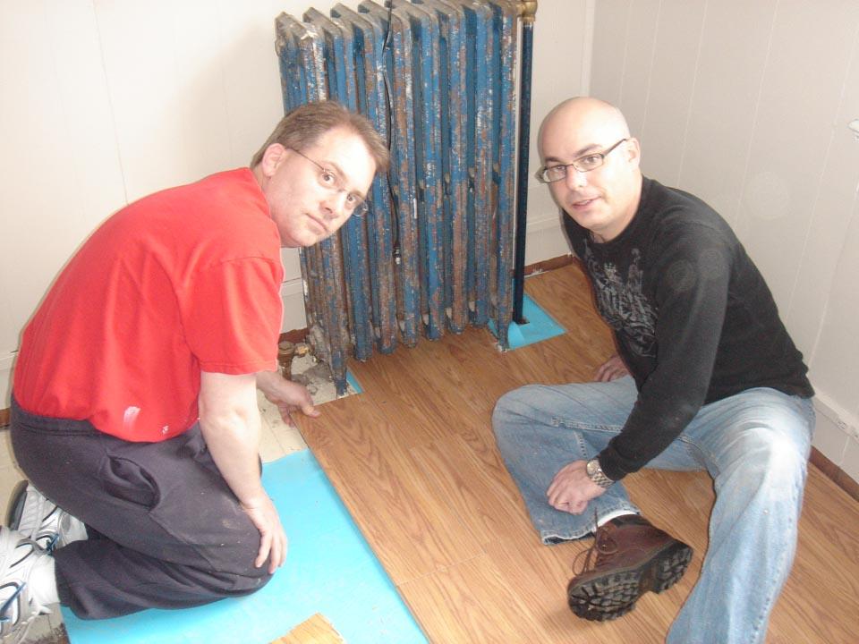 Chris Bartnik (L) and Jim Stuhltragerat Alumni Work Weekend