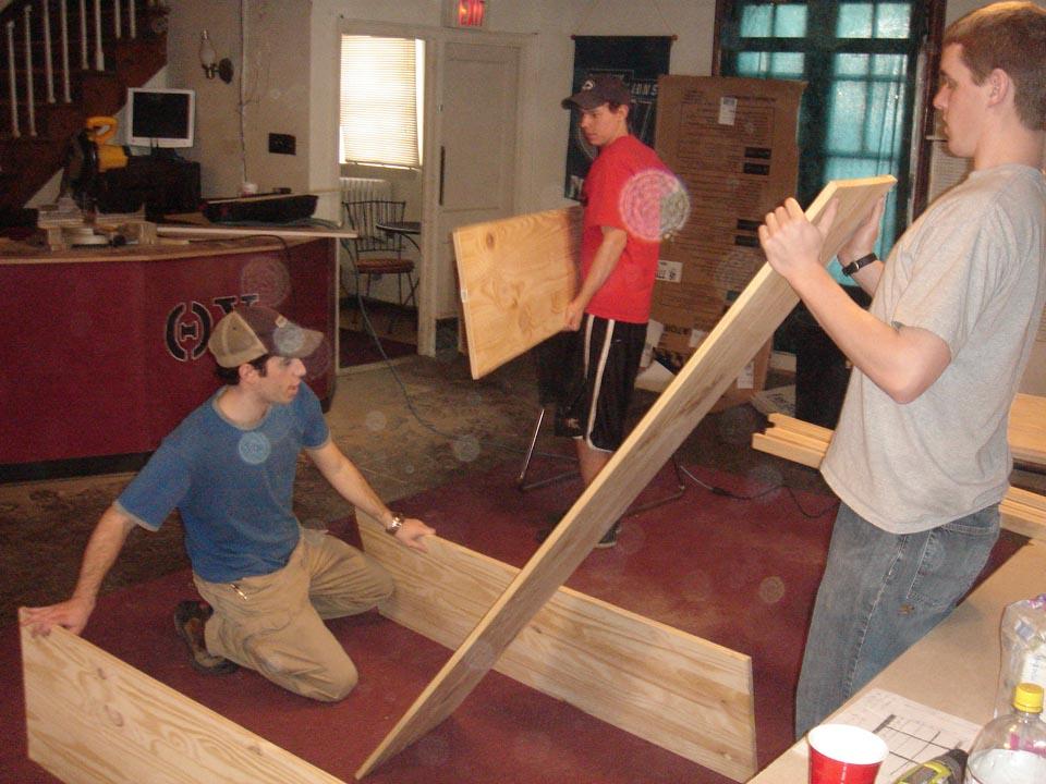 L to R: Robert Blumstein, Kent Rentschler and Ross DeVoeat Alumni Work Weekend