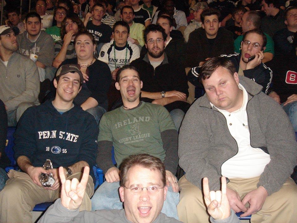 Robert Blumstein, Jared Marshall, TK, Jacob Wolf, Chris bartnik, Jeff Damcott, Timothy Uhrich, Dave GendlemenBrothers at the PSU Basketball Gameat Alumni Work Weekend