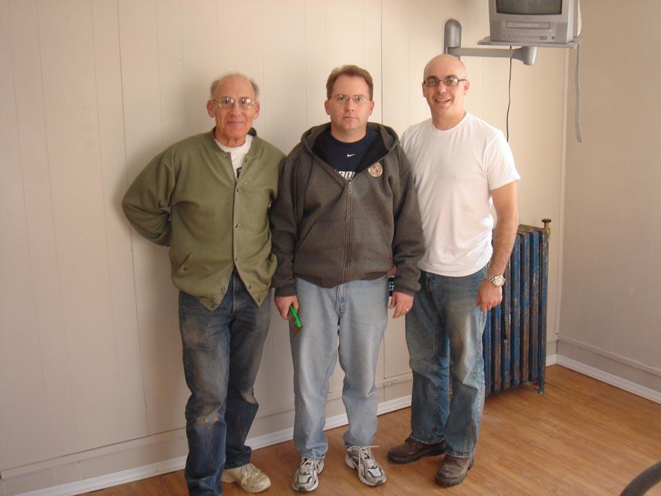 L to R: Richard Bartnik, Chris Bartnik and Jim Stuhltragerat Alumni Work Weekend