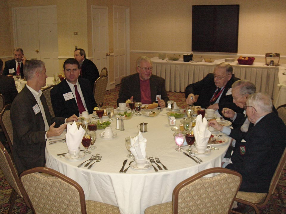 Lindsay Olsen - Delta Psi/'83, Michael Mayer Epsilon Phi/'04, Robert Sorisio, Howard Alter, Robert Waltenbaugh and William Grunat Norwich Luncheon
