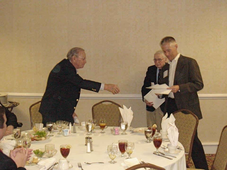 Robert Waltenbaugh receives Golden Guard Award from Lindsay Olsenat Norwich Luncheon