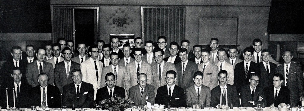 George Chapman (bottom center) at Installation of Epsilon Eta Chapter at Indiana University of Pennsylvania on November 2, 1957 in the ballroom of the Fraternal Order of Eagles in Indiana, PA