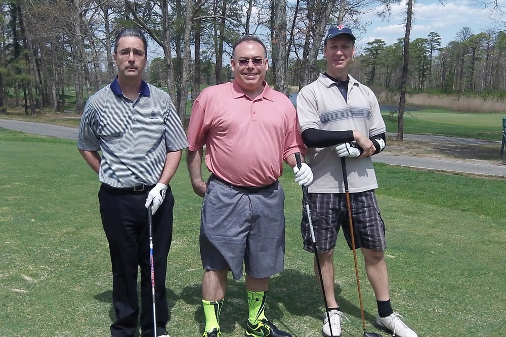 L to R: Brian Fluehr, Alan Vladimir and Phillip Bochey at the 2014 Theta Chi Golf Open, May 2, 2014