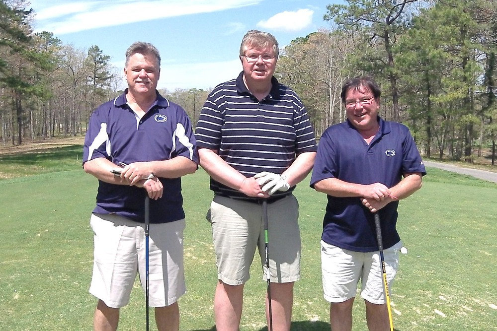 L to R: Daniel McTague Jr., Paul Cunningham and William McGill III at the 2014 Theta Chi Golf Open, May 2, 2014