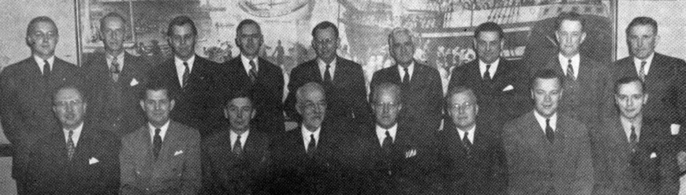 front row. left to right - Sydney H. Baylor, M.I.T. '26. national treasurer; Sherwood Blue. Indiana. '26-'2BL. national secretary: Dean Hunt: Dean Field: Dean Browning: Earl D. Rhodes. national president; Vice President Sears: James C. Stevens. Michigan. '23. national marshal; standing—Harold W. Browning. Jr., Rhode Island State. '46: George W. Chapman, Penn State. '20. director of leadership training: Samuel B. Doudiet, Colgate. '32. traveling secretary: Alfred H. Grant; Stuart H. Kelley, North Dakota State. '20, national chaplain; George Starr Lasher: Ralph H. Griesemer. Dickinson, '32; national counselor; Francis H. S. Ede, Dickinson. '17, former national vice president: Frederick W. Ladue. Colgate, '12.