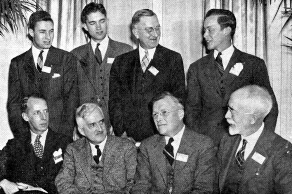 AMONG THETA CHIS attending the National Interfraternity Conference (12-1-1939) were left to right, seated: George W. Chapman, national marshall; George Starr Lasher. vice chairman-elect of the National Interfraternity Conference; Earl D. Rhodes, national president; Dean Floyd Field, director southeastern regional conference of the National Interfraternity Conference: standing, Harold A Sweet, Zeta: Daniel E. Sweet. representative of the University of New Hampshire Interfraternity Council: A. H. Aldridge: retiring chairman of the College Fraternity Secretaries Association; Arthur Howland, Michigan State. chairmen of the National Undergraduate Interfraternity Council - as in The Rattle, Feb. 1940