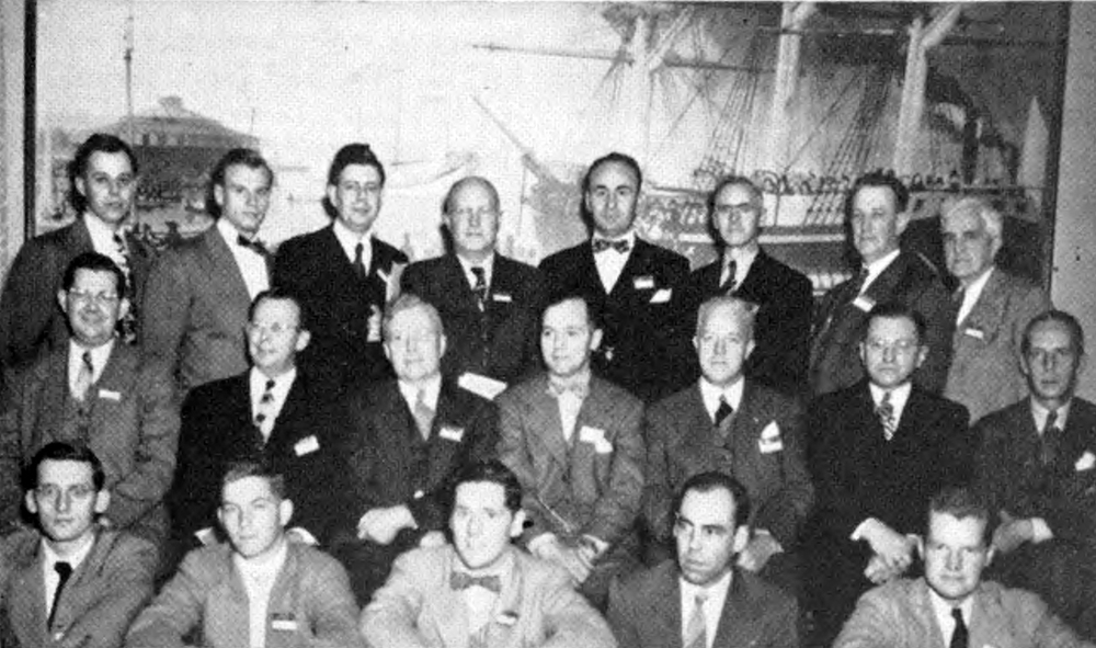 IT'S ALMOST A HABIT for Theta Chi Fraternity to have the largest of fraternity delegations at the National lnterfraternity Conference, or one of the largest. Here's the list of the twenty-four present at the 1947 sessions: top row, left to right—Samuel B. Doudiet, Colgate, '43, traveling secretary; Louis C. James, Virginia, '45; James L. Phillips, M.l.T., '47; Dr. Robert J. Miner, Dartmouth, '20, director of student affairs, Miami University; Dr. Robert W. Bishop, dean of men, University of Cincinnati; Alfred E. Grant, Tufts, '23, past national marshall; Francis H. S. Ede, Dickinson, '17, past national secretary; George Starr Lasher, Michigan, '11, editor The Rattle of Theta Chi; middle row—Sherwood Blue, Indiana, '26, national secretary; Stuart H. Kelley, North Dakota State, '20, national chaplain; Earle D. Rhodes, Rensselaer, '21, national president; James C. Stevens, Michigan, '23, national marshall; Dr. Harold W. Browning, Rhode Island State, 'I4, vice president of Rhode Island State College; Richard Duncan, Miami, vice president National Board of Trustees; George W. Chapman, Penn State, '20, executive secretary: front row-—Richard A. Joyeusaz, Delaware, '49; James F. Banks, Jr., Richmond, '49, secretary National Undergraduate interfraternity Council; Robert O'Conne|, Rhode Island State, '49; John D. Saunier, Worcester, '48; Howard H. Ganson, Jr., Rensselaer, '48 - as appeared in the Rattle, Winter 1948 - Nov. 28, 1947