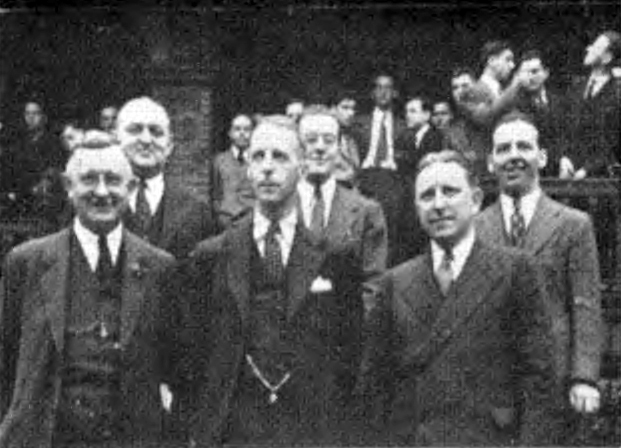 Beta Theta Installation Committee - Left to Right, Front Row, A.H. Aldridge, George W. Chapman, chairman, Frederick W. Ladue; back row, Carl Obermiller, Irving C. Spiers, Jr., Walter S. Hine - as appeared in The Rattle, August 1940 - May 24, 1940
