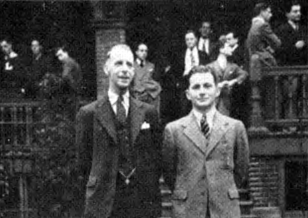 Beta Theta Installation - George W. Chapman (L), Installation Committee chairman and Frank L. Meyers, installed as first president of Beta Theta Chapter - as appeared in The Rattle, August 1940 - May 24, 1940