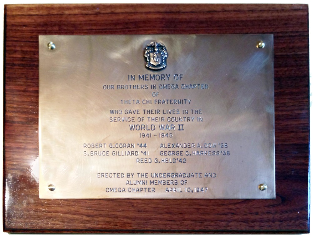 World War II Plaque honoring those brothers that gave their lives during World War II