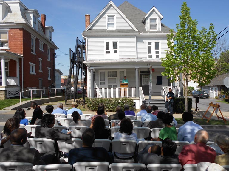 State College Mayor Elizabeth Goreham at Giffy House Historical Marker Dedication on April 20, 2012