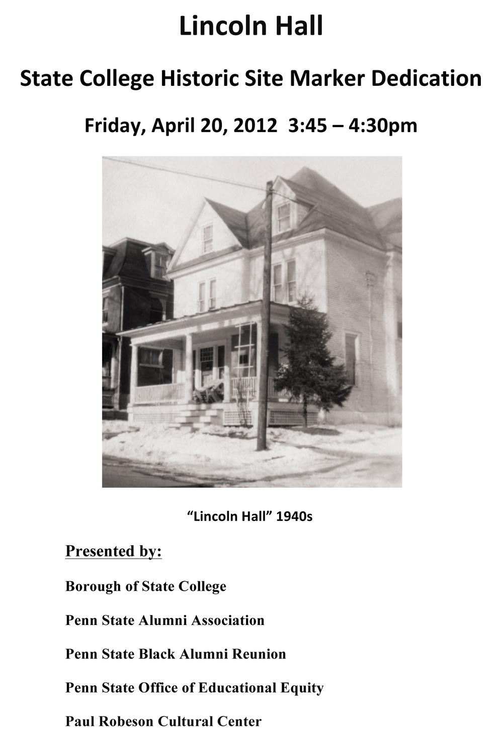 Lincoln Hall Dedication Program - Click to Download