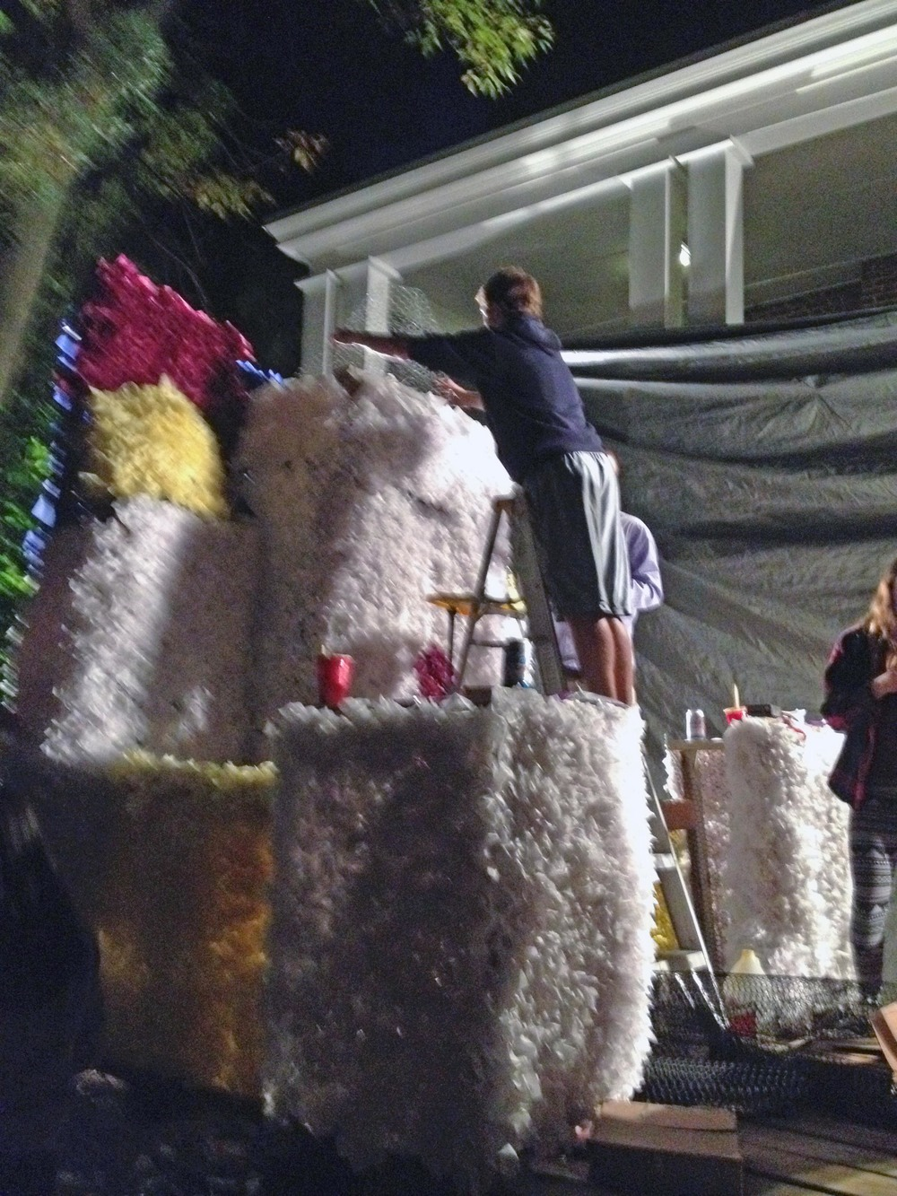 Float Build on Thursday night - 2014 Homecoming