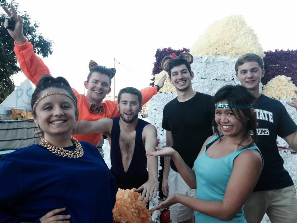 Christine Gerber, Sean James, Sam Kulp and Alejandro Buxo before the 2014 Homecoming Parade