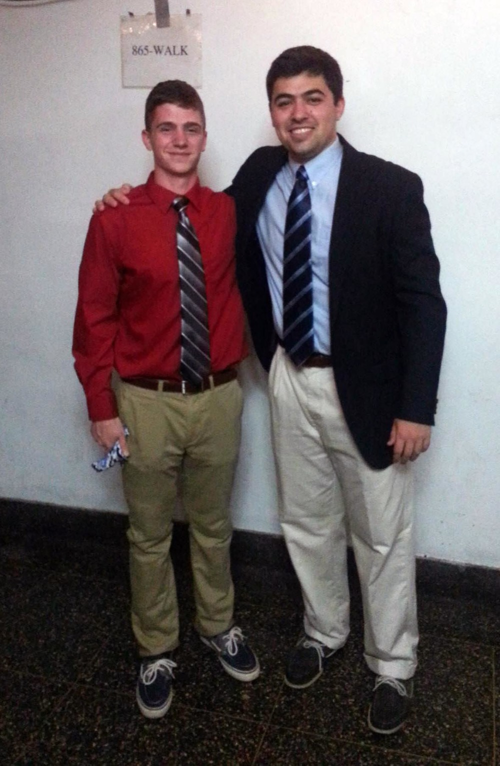 Fall 2014 - Big/Little Ceremony - little brother and Zach Meharey