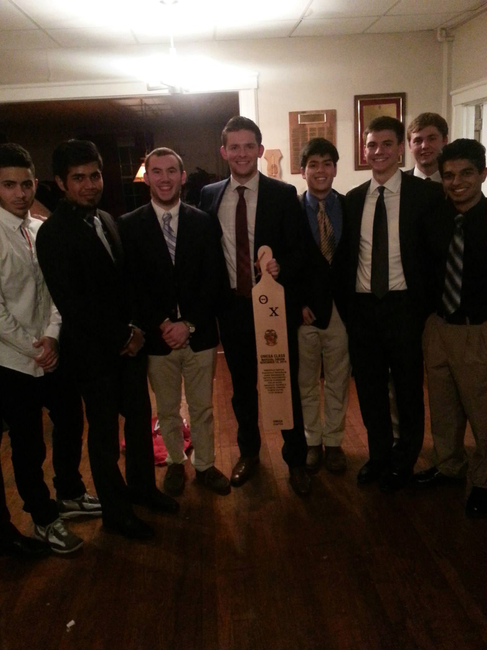Initiation Night - Fall 2014 - L to R: Luis Roman, Parangat Bhaskar, John Broderick, Marshal Sean James, Bradley James Nichols, Patrick O'Brien, Kevin DiGuiseppe and Parth Patel