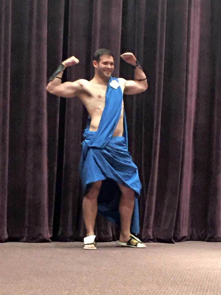 Sean Curry during the Toga Competitionl for the 2015 Greek Week