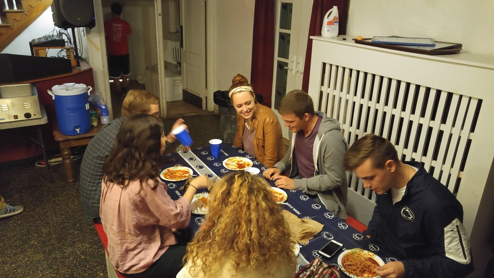 Brothers cooked and prepared pasta fdinner or guests for 4 hours in the basement in THON Fundraiser