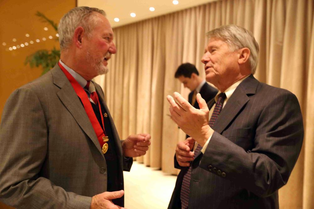 National President Dick Elder, Gamma Theta, San Diego, State '71 and Robert Zedelis, PSU Omega '62 at Theta Chi Alumni Reception in San Francisco - Nov. 21, 2015