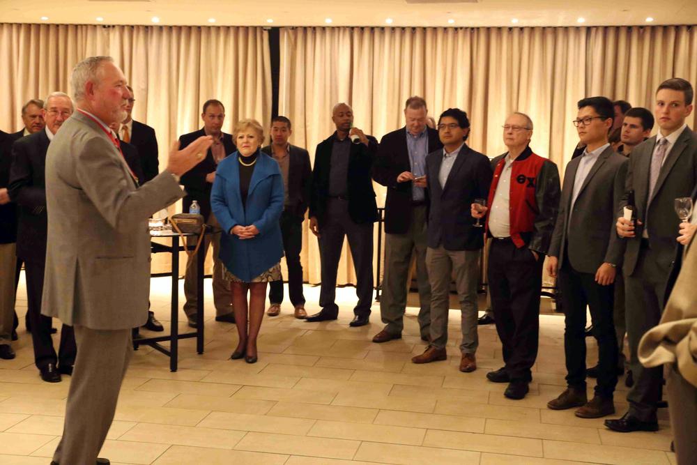 Dick Elder, National President, Gamma Theta '71 addressing group and presenting statistics at Theta Chi Alumni Reception in San Francisco - Nov. 21, 2015