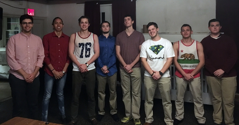 Spring 2016 Pledge Class L to R: Paul D'Alessio, Christian Cruz, Tim Kundro (marshal), Jordan Reed, Steve Gerry, Nico Fazio, Saif Khalil and Mike Curren