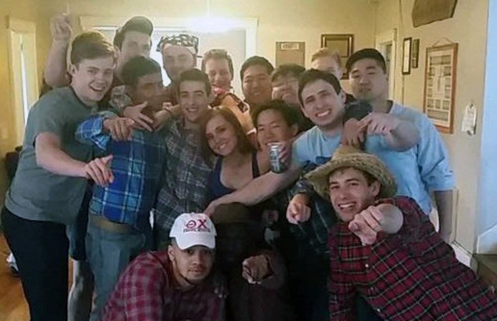 Theta Chi 'Sweetheart' Samantha Fisher with brothers - Aug. 2016