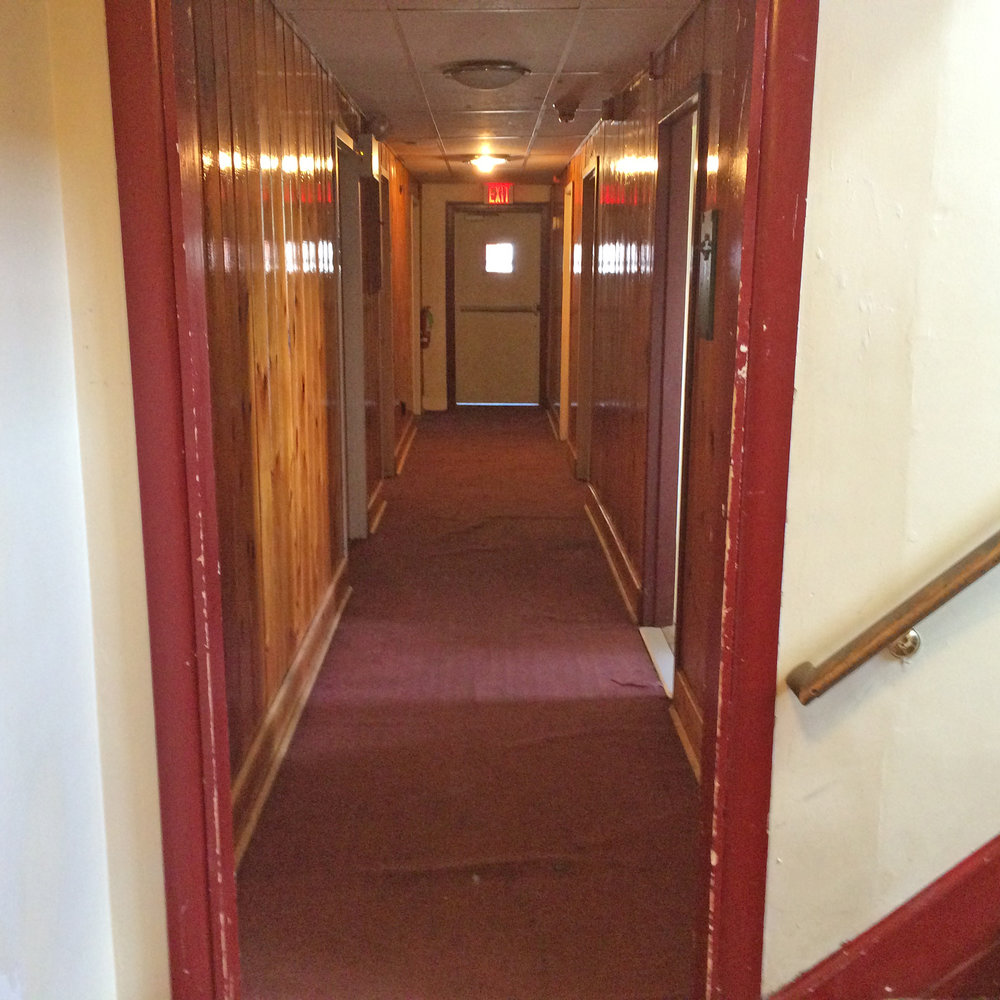 A commercial cleaner was hired to do a total cleaning of the house - 2nd Floor Hallway